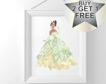 Tiana - The Princess & The Frog, Disney Princess print, poster, wall art, Frame