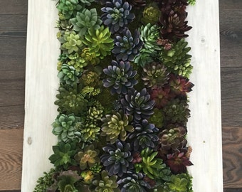 Succulent Arrangement, Artificial Succulent Wall Garden, Succulent Vertical Garden Reclaimed Wood Frame