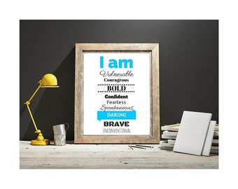 I Am Courgeous Brave Bold 8x10 Printable Download Wall Decor Inspiration Art Print Courgage Typography Daily Affirmations