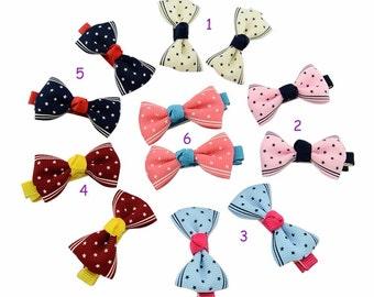 Newborn Hair Bow,Newborn Headband,Set of 3 PAIRS,Small hair bow,Mini Hair Bow,Tiny Hair Clip,Dots Hair Bow,Purple,Red,Pink,Dots Hair Clip