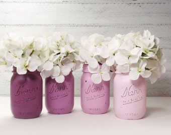 4- Hand Painted Mason Jars Flower Vases- Shades Of Purple Collection-Country Decor-Cottage Chic-Shabby Chic-French Chic