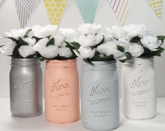 4- Hand Painted Quart Wide Mouth Mason Jar Flower Vases-Marissa Collection-Country Decor-Cottage Chic-Shabby Chic-French Chic