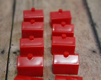 Monopoly Red Hotels-Vintage Hotels-Board game pieces-Monopoly spare parts-Monopoly pieces-Vintage games-13 pieces