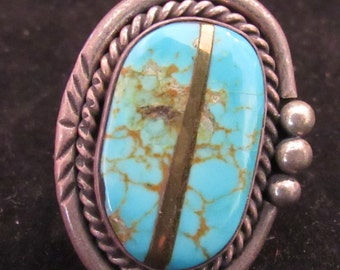 Wonderful Sterling Silver Bronze Inlay Native Style Turquoise Ring Size 5.5 (E22)