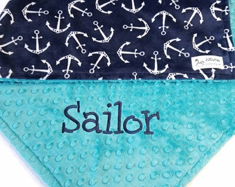 Personalized Minky Blanket - Anchor Minky Baby Blanket - Anchor Blanket -Nautical Minky Blanket - Personalized baby Blanket- Boy blanket