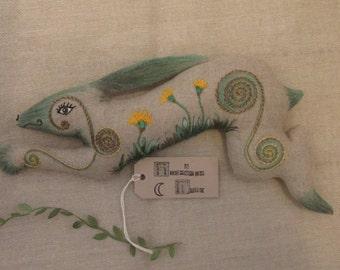 The Dandelion Leaping Hare. OOAK. Soft sculpture. Folk Art.