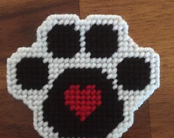 Handmade Plastic Canvas Paw Print Magnet