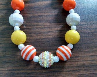 Candy Corn inspired Toddler Bubblegum Necklace
