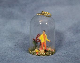 Miniature Diorama Man in Bell Jar