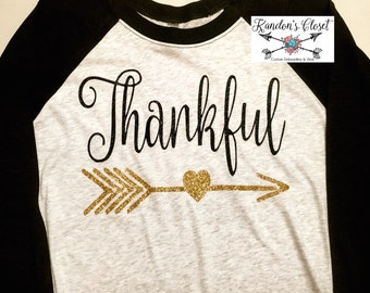 Thankful 3/4 Raglan Shirt. Adult and Youth Sizes.