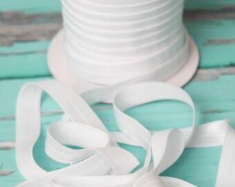 5/8 white FOE Elastic, elastic by the yard, white fold over elastic, foldover elastic headband, white elastic hair ties, wholesale elastic
