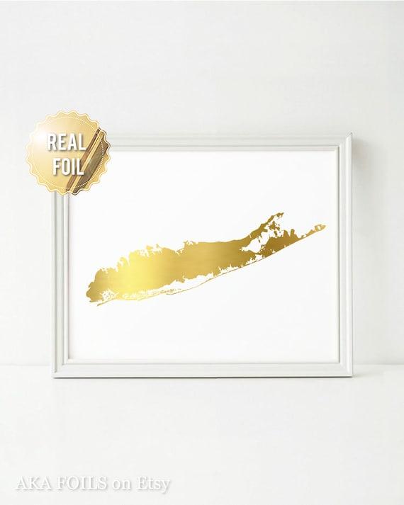 Long Island Wall Art long island map long island wall art real gold foil print