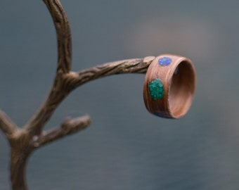 Rosewood bentwood ring with Malachite and Lapis Lazuli inlay