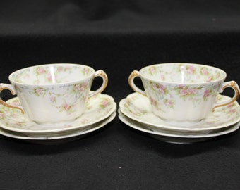 2 Theodore Haviland  Limoges Two Handled Cups and 4 Saucers Made in France