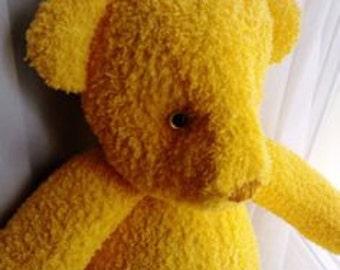 Handmade kids yellow teddy bear fluffy small