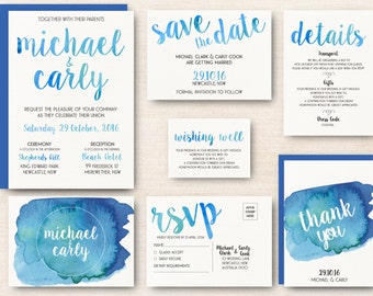 Watercolour Wedding Invitation Kit - Bright Blue - Personalised Digital Download - Printable