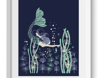 Mermaid Art Print, Mermaid graphic, Ocean Flora Print, Seahorse, Starfish