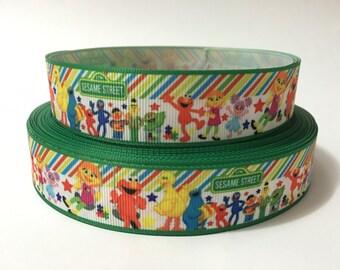 """1"""" Elmo Grosgrain Ribbon, Sesame Street Ribbon, Sesame Characters Ribbon, 1 inch Printed Grosgrain Ribbon"""