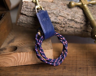 alto Handmade Premium Italian Leather Keychain Stand - Navy Cable Straps
