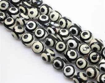15 inch - Good quality Faceted Round wholesale Three Evil Eye Dzi Beads Genuine Natural Stone bead - 6mm 8mm 10mm 12mm 14mm - DC40