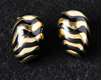 Large Gold & Black stud earrings