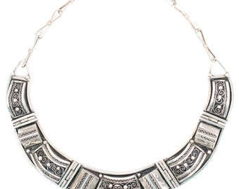 Ornate Silver Bib Necklace