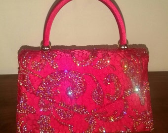 Ruby Red Crystal Encrusted Handbag