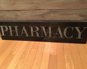 Vintage pharmacy sign; vintage wood sign; wood sign; vintage decor; aged sign;