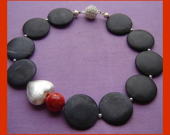 Unique Onyx with silver heart + coral