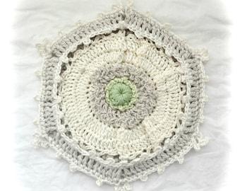 White Poppy Cottage Potholder, Crochet Potholder, Shabby Chic Decor Crocheted Pot holder