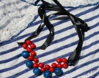 Blue red marine Necklace , Ribbon necklace, Navy Blue Ribbon Necklace, SUMMER Necklace, marine necklace, sailor style