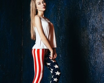 American Flag (Patriotic) Leggings (One Size)