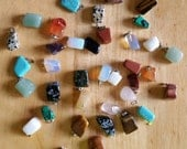 Natural Stone Necklace Pendants with loops, turquoise, jade, tiger's eye, quartz, agates and more!