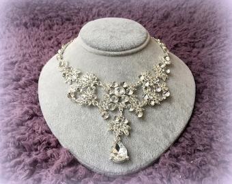 Glamorous Wedding Jewelry, Elegant Rhinestone Necklace