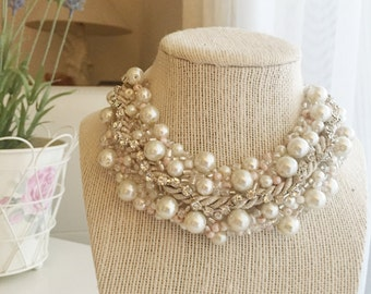 Free shipping Pearl bib necklace wedding beaded crystal