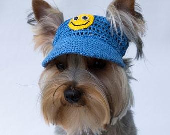 "Dog's Baseball Cap ""Smiley"", Dog Visor, Hats For Small Dogs, Knit Dog Hat, Dog Sun Visor"