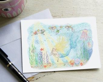 Postcard of Art, diving miraculous.