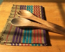 Hand  woven tea towel - Fall dish towel - gifts under 20 - Woven dish cloth with stripes - entitled Footprints in the Sand