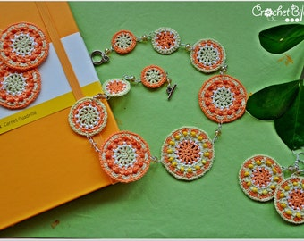 Sunny crocheted mandala set - necklace and earrings