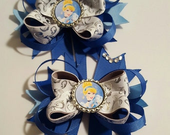 Cinderella Girls Hair Bows a set of 2