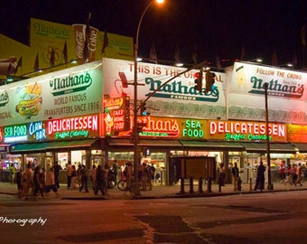 Coney Island Print,Nathan's Print,Brooklyn photography, NYC Print,Brooklyn NY Photo,coney island hot dogs,restaurant Wall Art, Wall decor