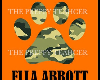 Preppy Camo Paw Print Name Tag/ Locker Tag/ Classroom Labels - INSTANT DOWNLOAD