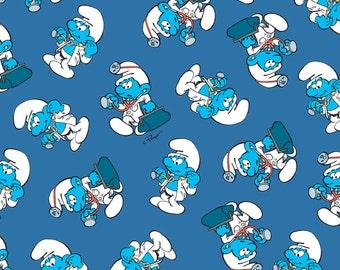 Smurfs Scrubs Doc Smurf Cotton Fabric - by Cranston Fabrics