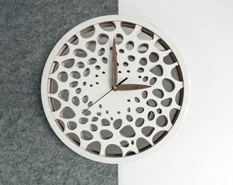 Modern wall clock - Wooden wall clock - Scandinavian style clock - White wall clock - Silent wall clock - Housewarming gift