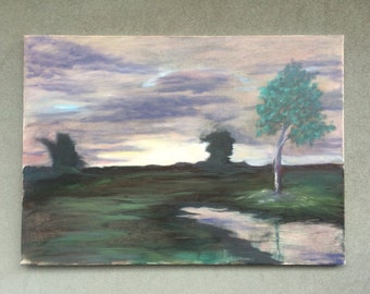 landscape in painting, Tree landscape, oil panting, multi panel painting, Field painting, painting on canvas, multicolor painting