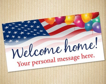 """Welcome Home, Military Banner, 72""""x36"""", Personalized Banner, Military"""