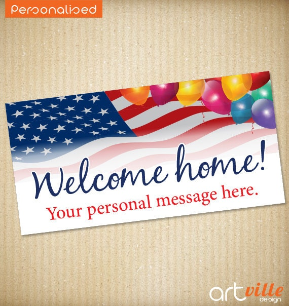 welcome home military banner 72x36 personalized