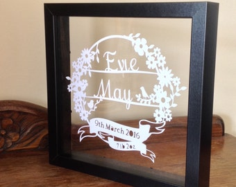 New Baby Personalised - Paper Cut Floating Box Frame