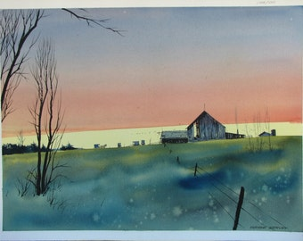 Barn watercolor painting, sunset, original landscape watercolor, horse and buggy, #25