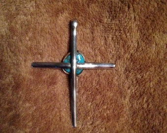 Sterling Silver Cross with Turquoise (item 68)